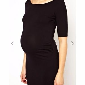ASOS Maternity Dresses - ASOS Maternity Bardot Dress With Half Sleeve Blue